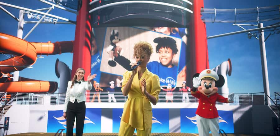 """Disney on Broadway star and International Performing Artist Syndee Winters performing """"When You Wish Upon a Star"""" during the Disney Wish grand reveal event"""