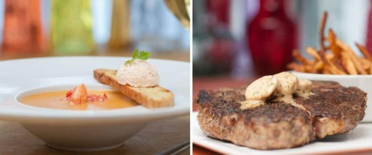 Collage of items from Yachtsman Steakhouse at Walt Disney World Resort
