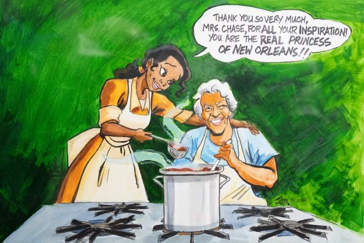"""Original art by """"The Princess and the Frog"""" director John Musker, courtesy of Dooky Chase's Restaurant"""