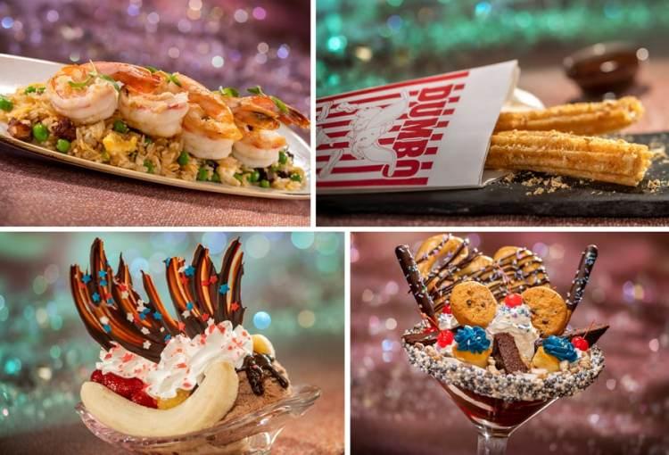 Veranda Fried Rice, Dumbo Churros, The Banana Boom split, and Cheers to 50 Years! sundae