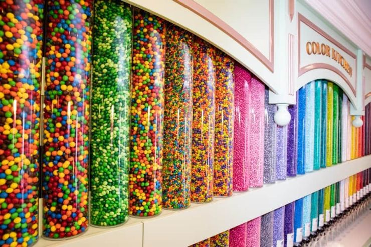 M&M color wall display at the Main Street Confectionery