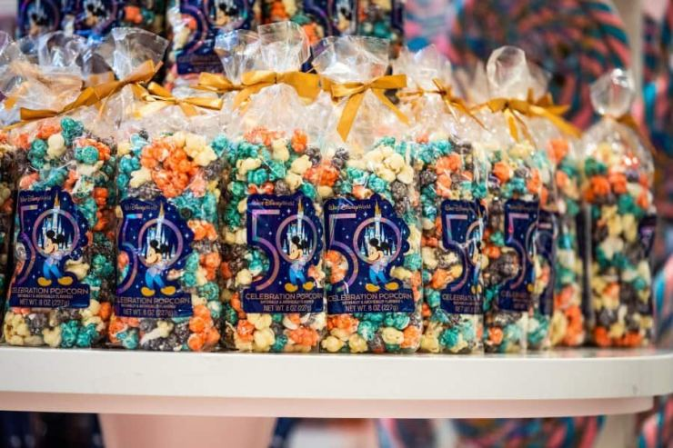 50th celebration colored popcorn on shelf at the Main Street Confectionery
