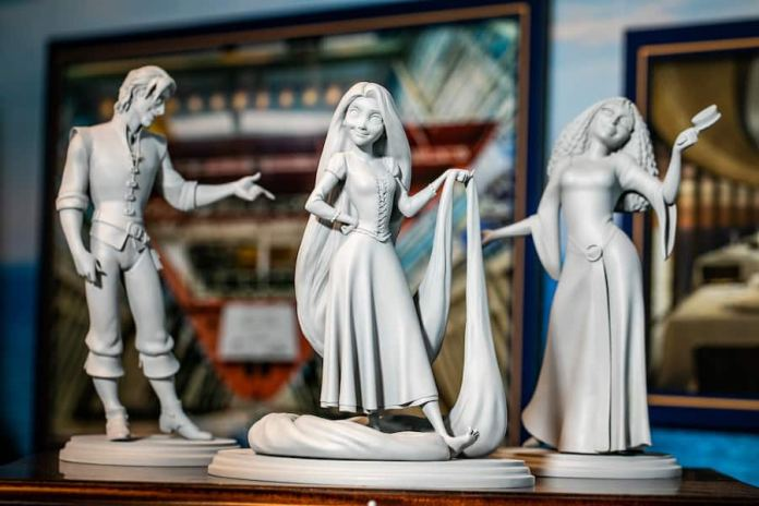 """""""Tangled""""-inspired statues at the Disney Wish exhibit at Disney's Hollywood Studios"""