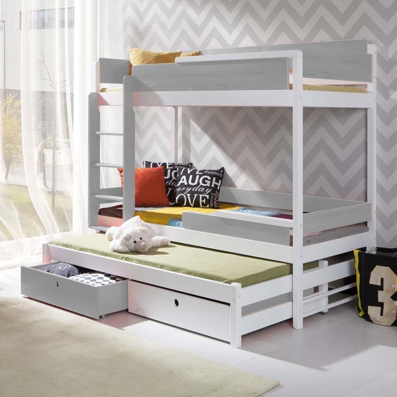 lit superpose enfant natu 3 avec lit gigogne blanc et gris