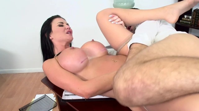 Busty Pornstar With Dark Hair Gets Analyzed On The Table By Lawyer