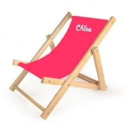 chaise longue enfant personnalisee rose