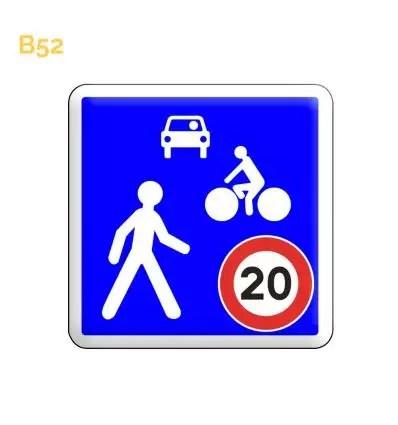 B52 Panneau Zone De Rencontre Limitee A 20 Km H Des 31 99 Ht