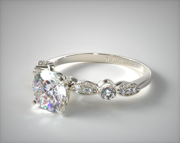 Antique Bezel And Pave Set Engagement Ring 14K White