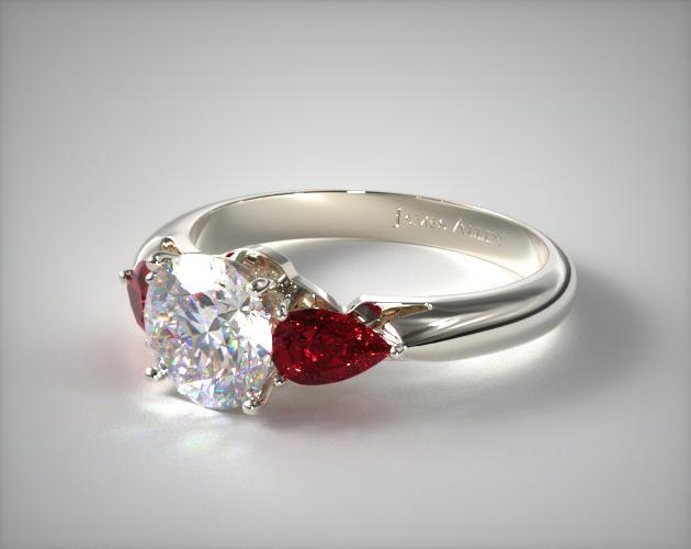 Three Stone Pear Shaped Ruby Engagement Ring 18K White