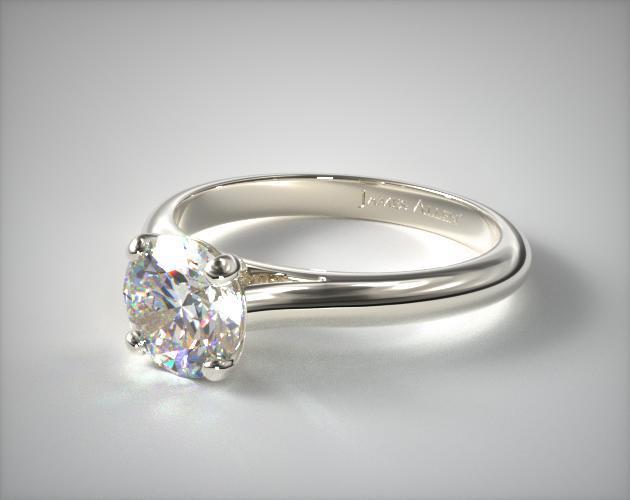 Sleek Diamond Engagement Ring 14K White Gold James