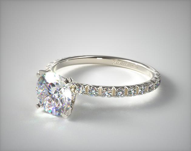 Thin French Cut Pave Set Diamond Engagement Ring 14K