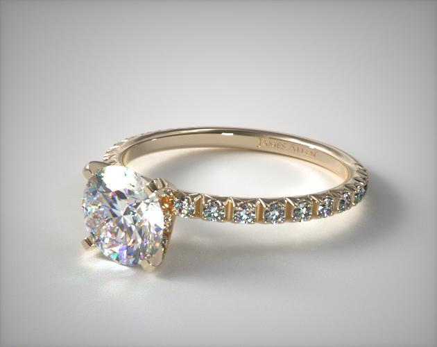 Thin French Cut Pave Set Diamond Engagement Ring 18K