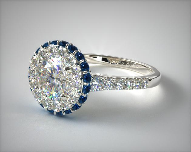 Engagement Rings Halo 14k White Gold Sapphire Accented