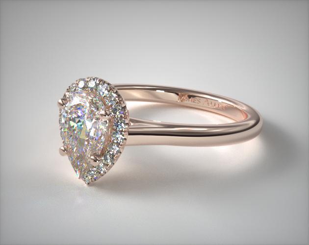 Pave Halo Diamond Engagement Ring Pear Center 14K Rose