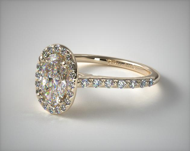 Pave Halo Diamond Engagement Ring Oval Center 14K
