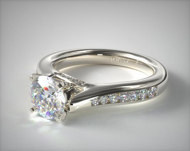 Bypass Channel Engagement Ring 14K White Gold James