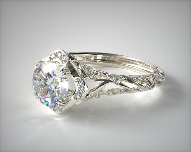 Diamond Filigree Engagement Ring 14K White Gold 17450W14
