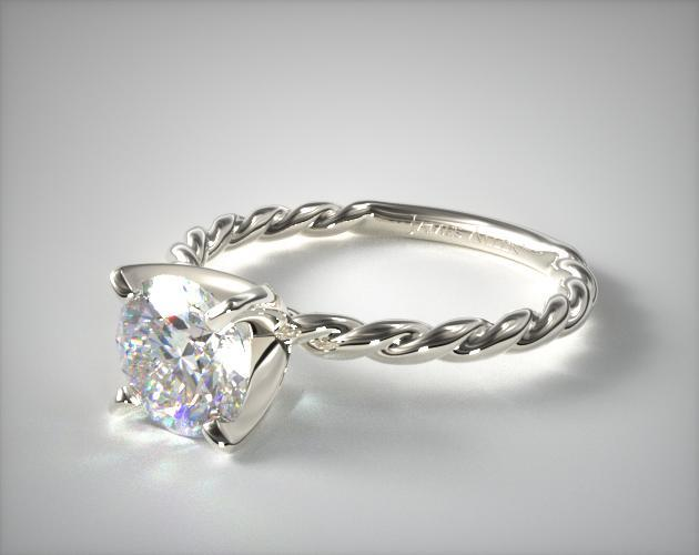 14K White Gold Cable Solitaire Engagement Ring 17970W14