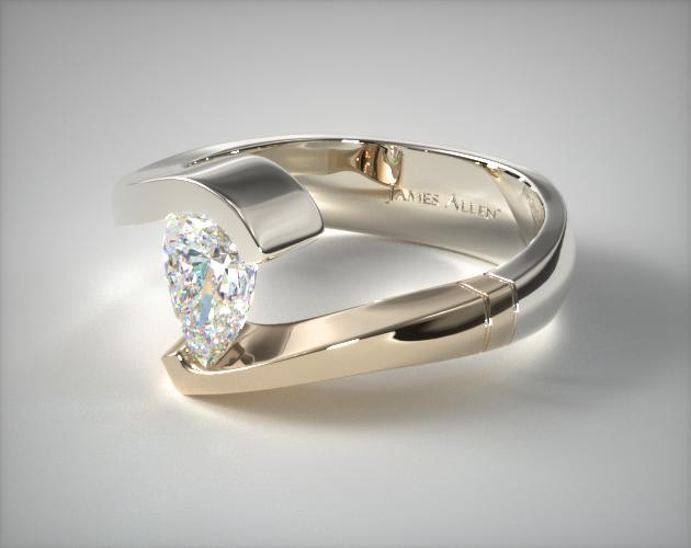 Pear Shaped Swirl Tension Setting 14K White Gold And