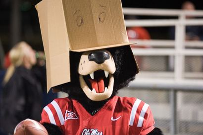 Ole Miss Mascot can't bear to watch.