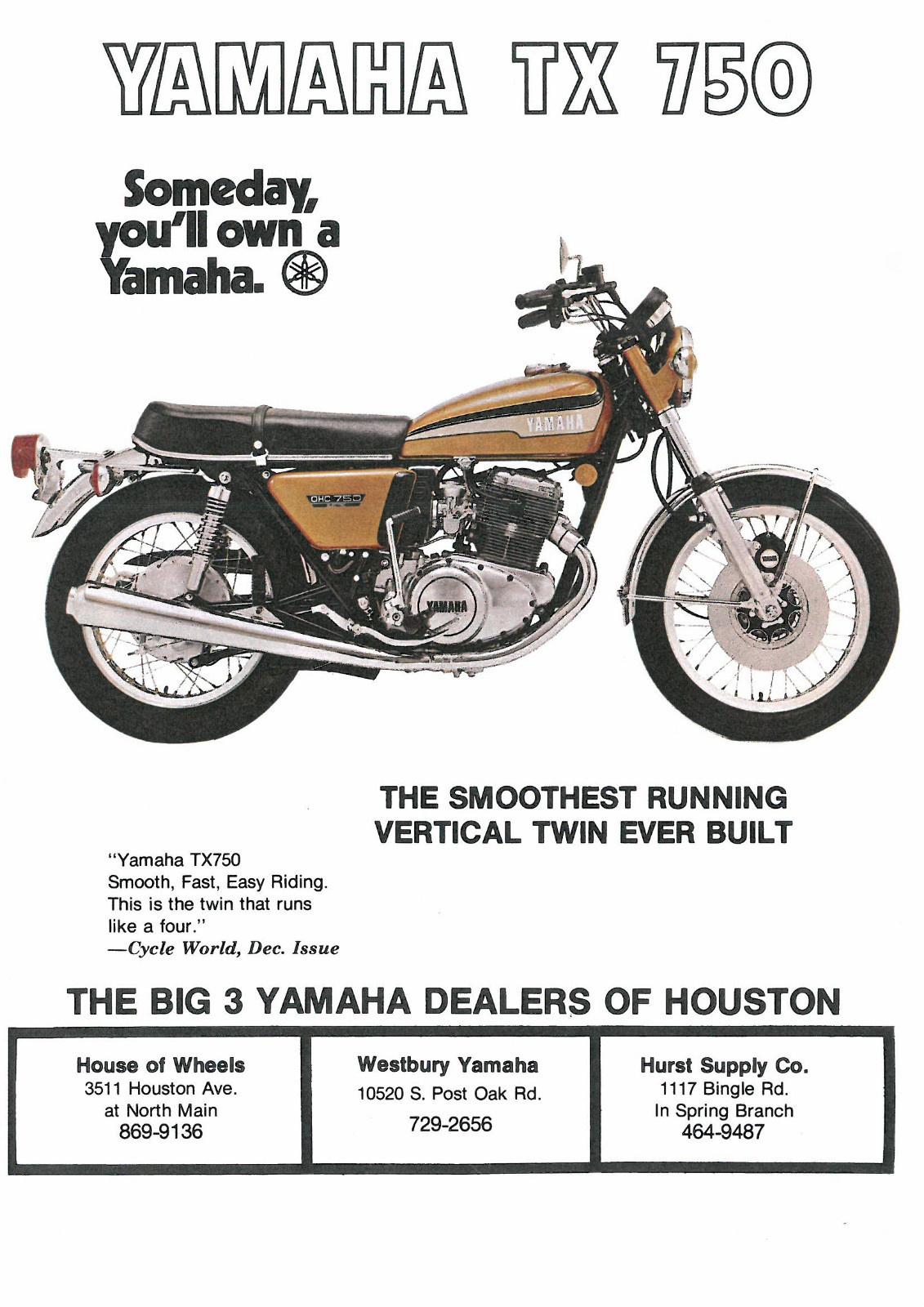 Kickstart 1973-1974 Lever Yamaha TX 500 Europe Each