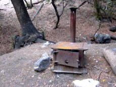 Typical stove at Spruce Grove camp