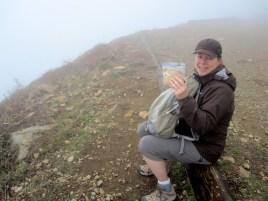 Lunch break in the clouds at the top of Santiago Peak
