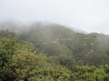 The trail winding around the mountain bends