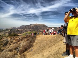 Crowds lined the trails for the Space Shuttle
