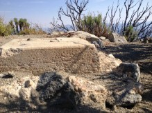 Remnant foundation of structure atop San Gabriel Peak