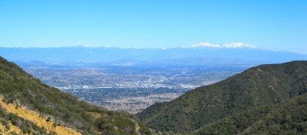 You can see the snow-capped San Bernardino mountains in the distance.
