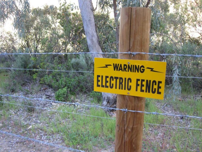 Electric fence. Don't disturb the residents.
