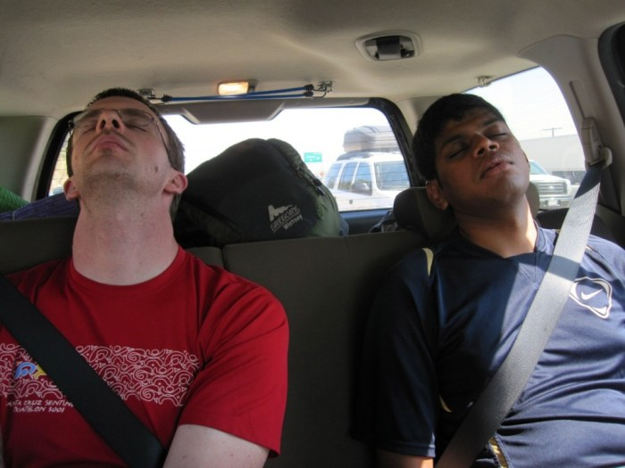 Jeffrey and Hari Dozing on the Ride to Lone Pine