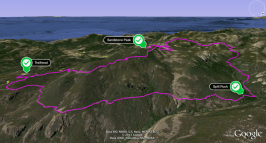 Google Earth overview of Mishe Mokwa Trail to Sandstone Peak (Mt. Allen)