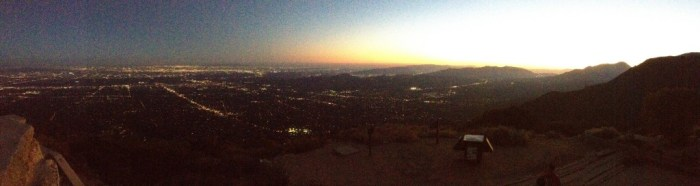 Sunset and city lights.