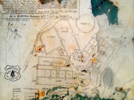 A floor plan for the Echo Mountain House.