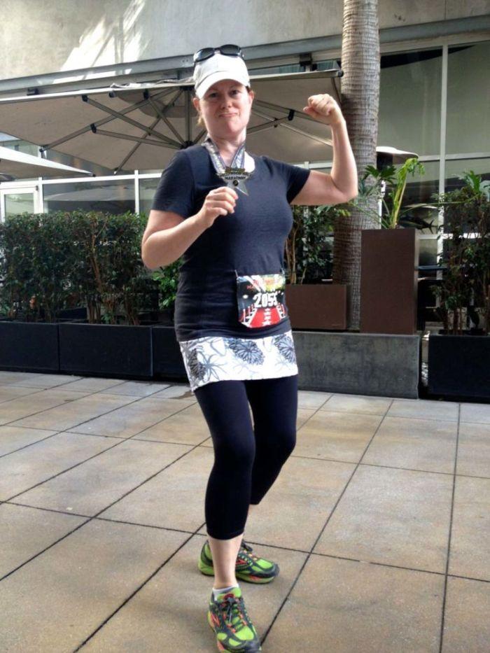 Joan after the Hollywood Half Marathon