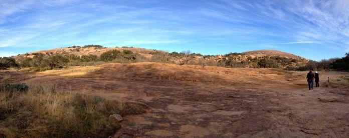 Panoramic view look up at Enchanted Rock