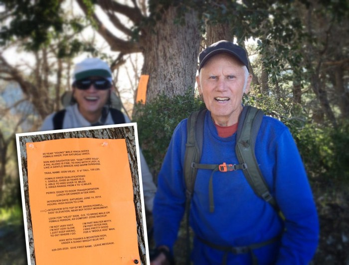 85 years young and interviewing potential female hiking companions atop Mt. Baden-Powell.