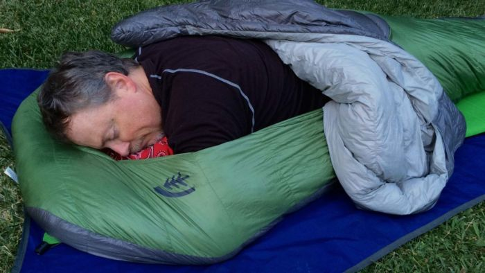 Stomach sleeping in the Sierra Designs Backcountry Bed