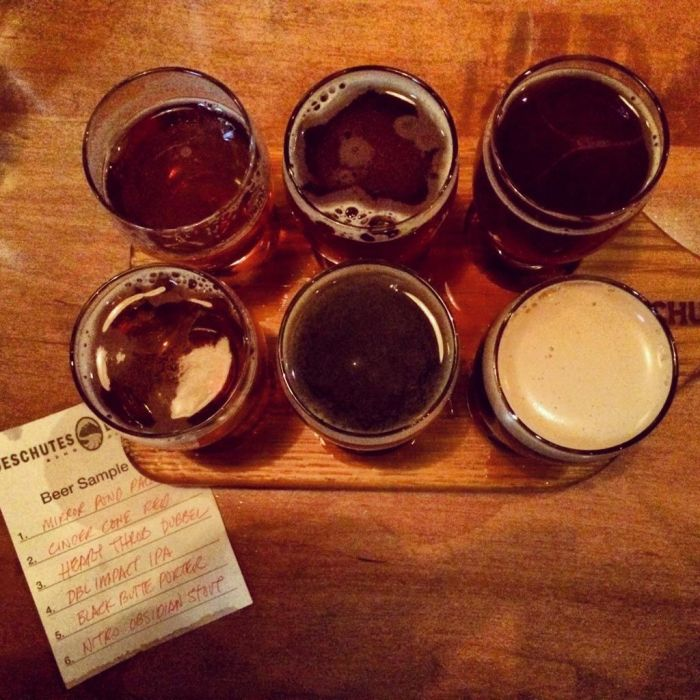 Beer sampler at Deschutes Public House