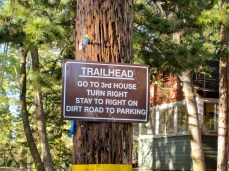 Sign to the trailhead parking