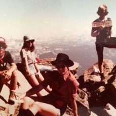 Rockin' my home-made DEVO t-shirt on Carson Peak in '79