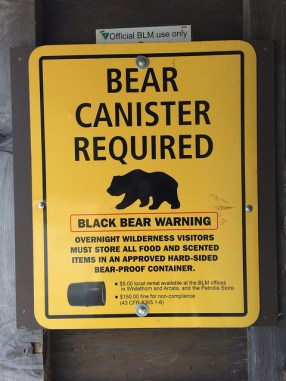 bear canister required sign