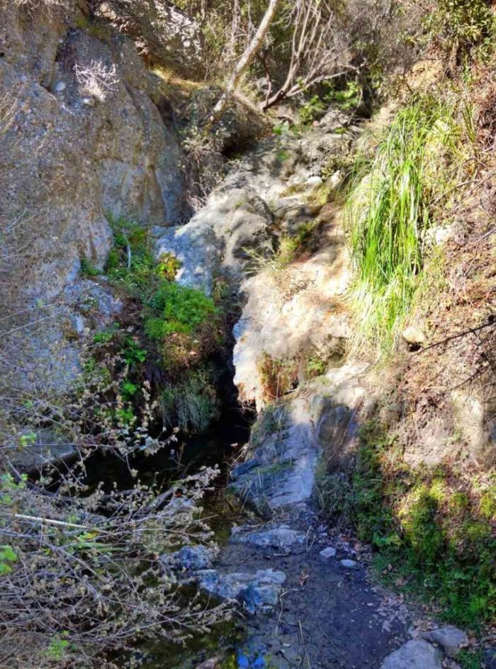 The waterfall in Temescal Canyon typically looks like a trickle