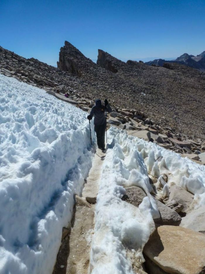 Near the summit of Mt Whitney on the High Sierra Trail