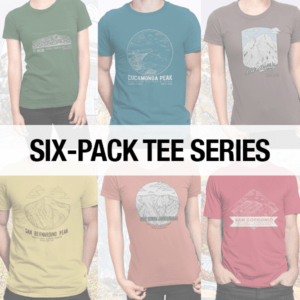 Individual t-shirts for each of the Six-Pack Peaks