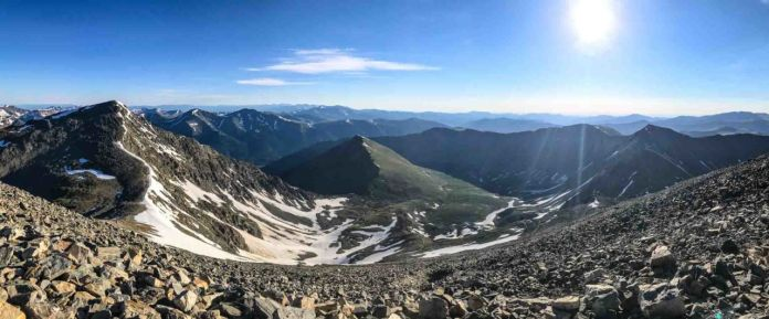 Looking down the cirque from Grays Peak