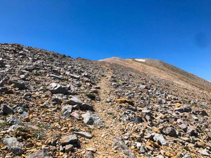 Trail along ridge toward the summit of Horseshoe Mountain