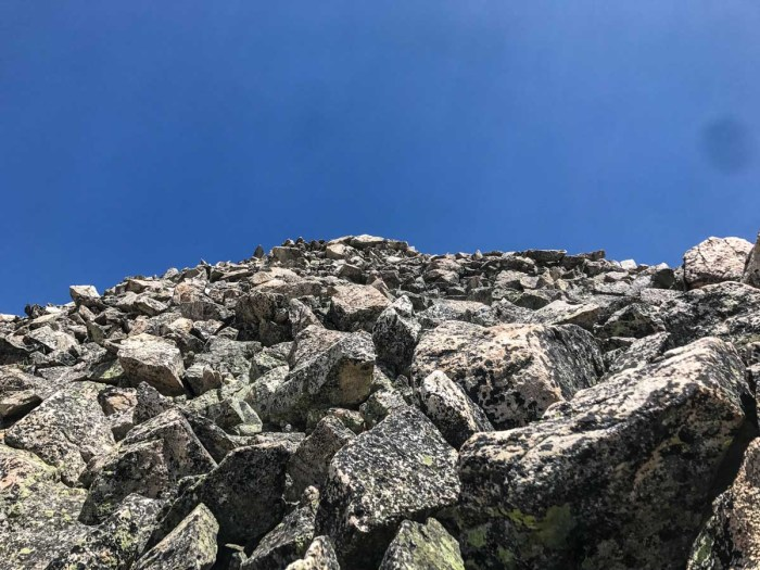 Looking up the boulder scramble to the summit of Birthday Peak